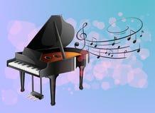 Un piano con las notas musicales ilustración del vector
