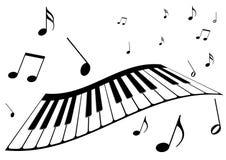 un piano y notas de la música fotos de archivo