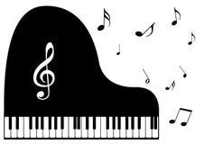 un piano y notas de la música ilustración del vector