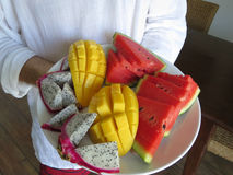 Un piatto dei frutti Fotografia Stock Libera da Diritti