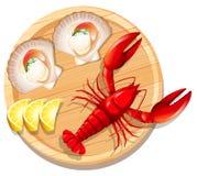 Un piatto dei frutti di mare con l'aragosta ed il pettine illustrazione di stock