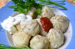 Un piatto del khinkali georgiano di cucina fotografia stock libera da diritti