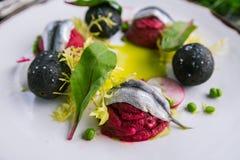 Un piatto dell'aringa e degli ortaggi freschi cucinati da un cuoco unico immagine stock libera da diritti
