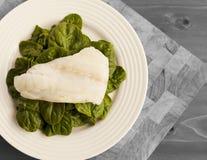 Un piatto semplice di spinaci organici immagine stock libera da diritti