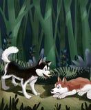 Un piccolo cane spaventato Due cani del husky siberiano sono scomparso nell'illustrazione della foresta Fotografie Stock Libere da Diritti