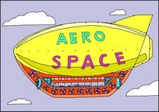 Un piccolo dirigibile vola nel cielo illustrazione di stock