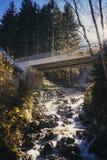 Un piccolo fiume che entra sotto un ponte nel cittadino Parl di Ecrins Fotografie Stock
