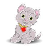 Un piccolo gatto grigio royalty illustrazione gratis