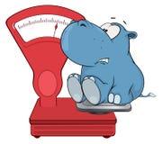 Un piccolo ippopotamo e una bilancia fumetto Fotografia Stock