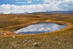 Un piccolo lago nella steppa, caduta fra le montagne Il Ukok P Fotografie Stock Libere da Diritti