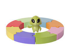 Un piccolo mostro verde con i modelli di circolazione illustra 3D illustrazione di stock