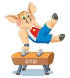 Un piccolo porcellino è ginnasta illustrazione vettoriale