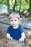 Un piccolo ragazzo del bambino di un anno nella foresta di estate fotografia stock libera da diritti