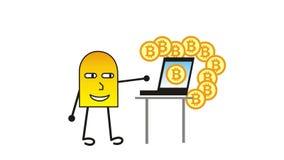 Un piccolo uomo del fumetto crea sui bitcoins del computer Video del fumetto illustrazione di stock