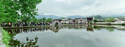 Un piccolo villaggio in supporto Huangshan, Cina, è chiamato Hongcun, appena come la bellezza della pittura del paesaggio immagini stock libere da diritti
