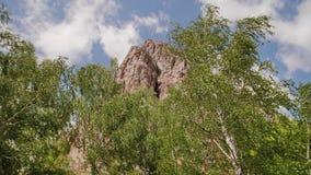 Un pico de montaña hermoso aparece de detrás los árboles Paisaje hermoso de la montaña almacen de video