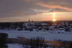 Phénomène naturel par coucher du soleil - pilier léger (pilier du soleil ou solaire Image libre de droits