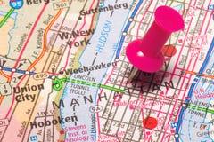 Un Pin del empuje en Nueva York Imagenes de archivo