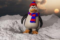 Un pingouin semblant fâché dans la neige Photo libre de droits