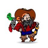 Un pirata allegro, con una spada Un fumetto su un fondo bianco illustrazione di stock
