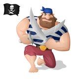Un pirata con las espadas Fotos de archivo libres de regalías