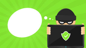 Un pirata informático está sosteniendo un ordenador seguro en sus manos Tableta de alta tecnología electrónica Bandera bajo la fo Foto de archivo libre de regalías