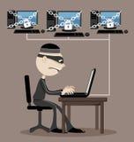 Un pirata informatico di computer illustrazione vettoriale