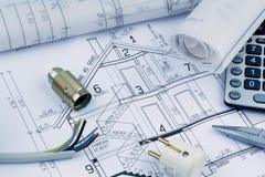 Un plan de maison electrical Photos libres de droits