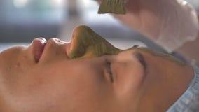 Un plan rapproché de masque facial de boue s'est appliqué sur la peau clips vidéos