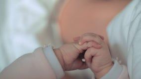 Un plan rapproché de petites mains du ` un s de bébé banque de vidéos