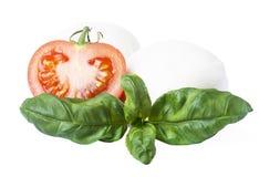 Un plan rapproché des boules de fromage de mozzarella avec les feuilles et les tomates fraîches de basilic sur un fond blanc images stock