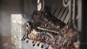 Un plan rapproché des carcasses du porc qui est fait frire sur une broche Préparation d'une carcasse de porc sur un gril clips vidéos