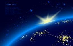 Un planeta en espacio azul por completo de estrellas el sol sube sobre el horizonte En el lado de la noche del brillo de la tierr stock de ilustración