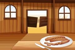Un plat avec des hot dogs Photographie stock