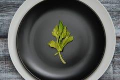 Un plat blanc et noir propre de plat avec des feuilles de vert d'isolement au-dessus de Gray Wooden Textured Background Concept d photographie stock libre de droits