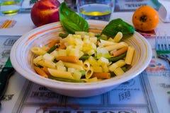 Un plat coloré des pâtes et du fromage italiens image stock