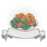 Un plat complètement de fleur comestible - nasturce Image libre de droits