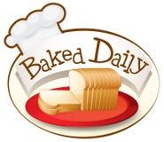 Un plat de pain avec un label quotidien cuit au four illustration stock
