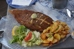 un plat de poisson délicieux de Grèce Photographie stock