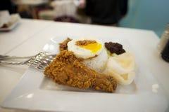 Un plat parfumé malais de riz cuit en lait de noix de coco, servi avec les garnitures délicieuses images stock