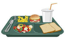 Un plateau de repas scolaire avec l'espace de copie Image stock