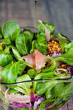 Un plato de diversos tipos de hojas de la lechuga, de arugula, de jamón de prosciutto, de aceite de oliva y de mostaza coloridos  Imagen de archivo
