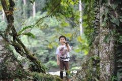 Un playng del muchacho en un bosque tropical en reserva del valle de Borneo Danum Imagenes de archivo