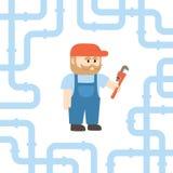 Un plombier Holding une clé de singe dans le style plat Photo libre de droits