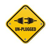 Un-plugged yellow signs Royalty Free Stock Photos
