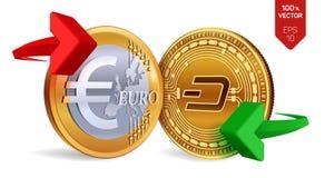 Un poco all'euro cambio precipitare Euro violento a metà contro vecchia priorità bassa Cryptocurrency Monete dorate con il simbol illustrazione vettoriale
