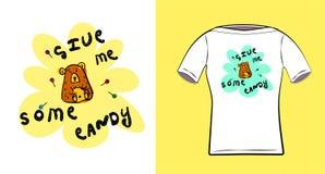 Un poco oso Con la inscripción déme un poco de caramelo Impresión para las camisetas, ropa, materias textiles Ejemplo del vector  stock de ilustración