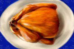Un pollo asado delicioso en un plato ilustración del vector