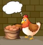 Un pollo con sus huevos en el saco stock de ilustración