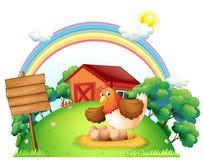 Un pollo y sus huevos cerca del tablero de madera vacío stock de ilustración